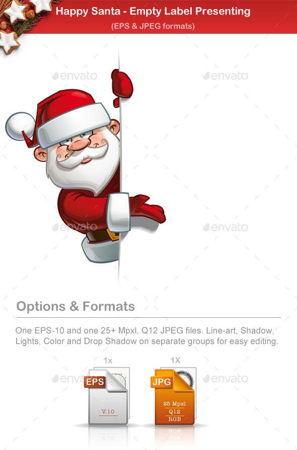 Happy Santa - Empty Label - Christmas Seasons/Holidays