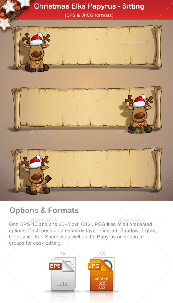 Christmas Elks - Papyrus Sitting - Christmas Seasons/Holidays