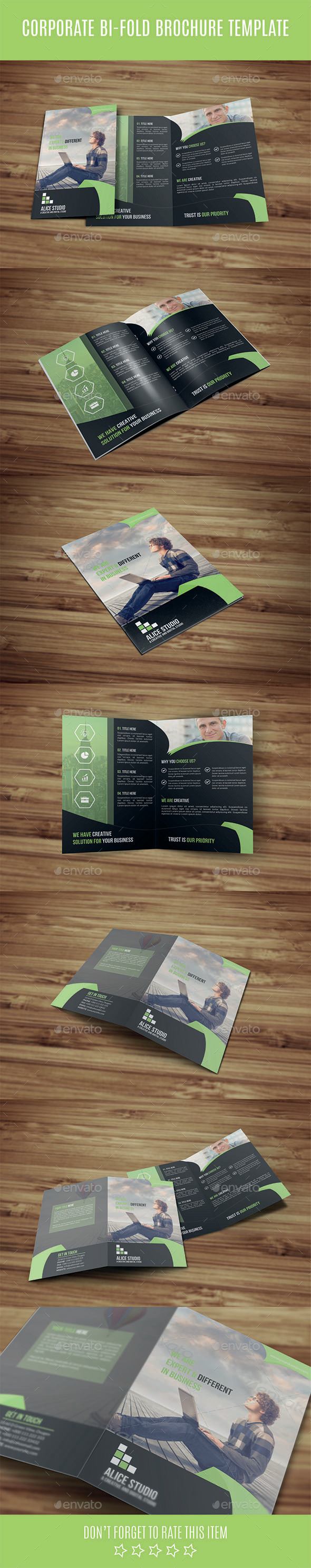 Corporate Bi-Fold Brochure Template - Corporate Brochures