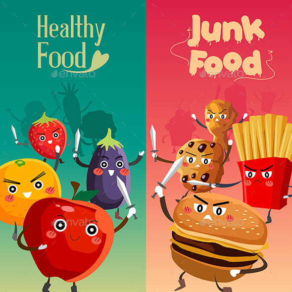 Healthy Food And Junk Food For Kids