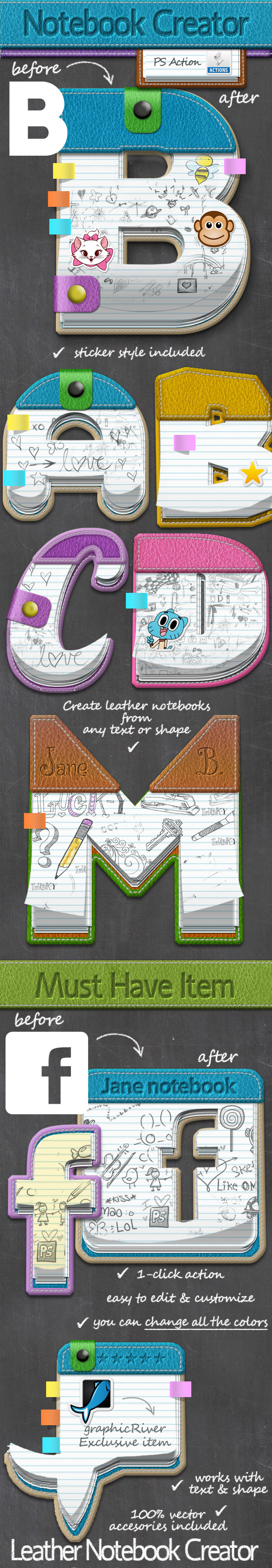 Leather Notebook Photoshop Creator - Utilities Actions