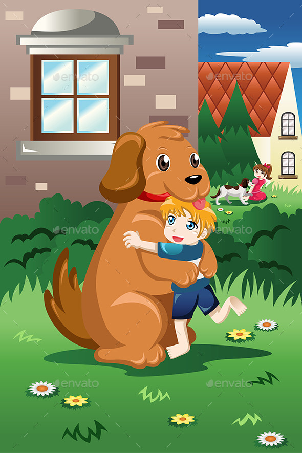 Kids Playing with Their Dogs - People Characters
