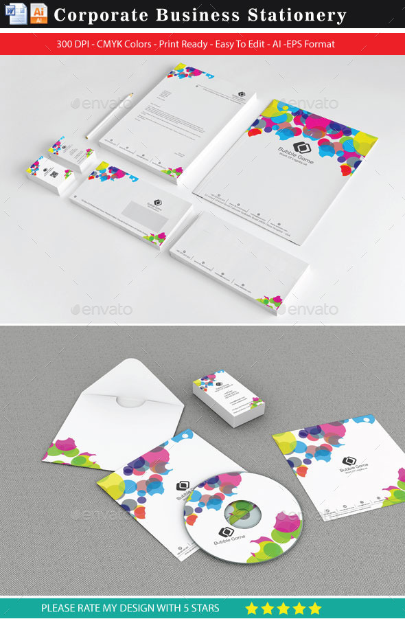 Graphical Bubbles Dot Stationery Template
