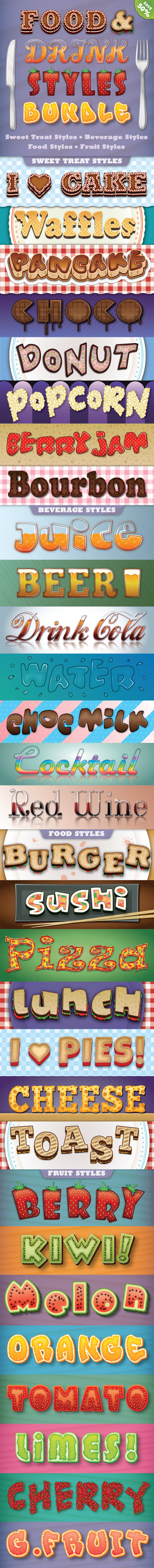 Food and Drink Styles Bundle - Styles Illustrator