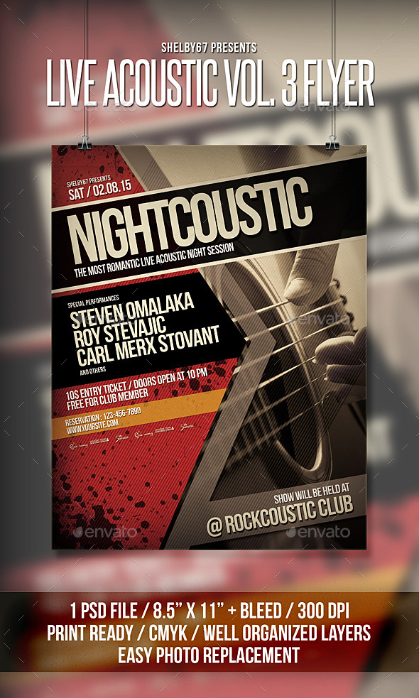 Live Acoustic Flyer Poster Vol 3