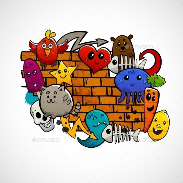 Graffiti Characters Flat Color Concept - Miscellaneous Vectors