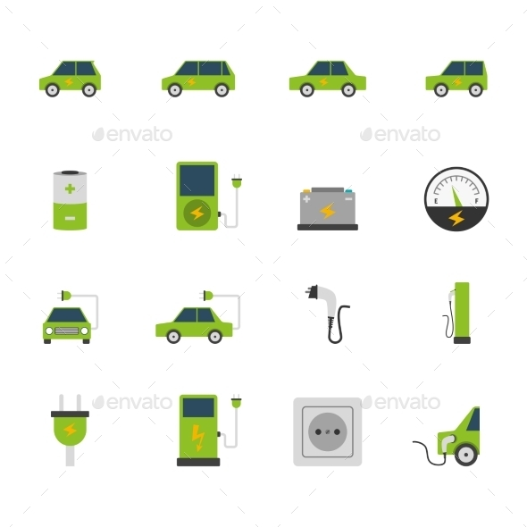 Electric Car Icon Set  - Man-made objects Objects
