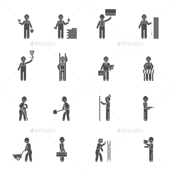 Builders Silhouette Flat Icon Set  - People Characters