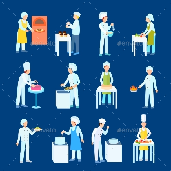 Cooks Flat Icon Set  - People Characters