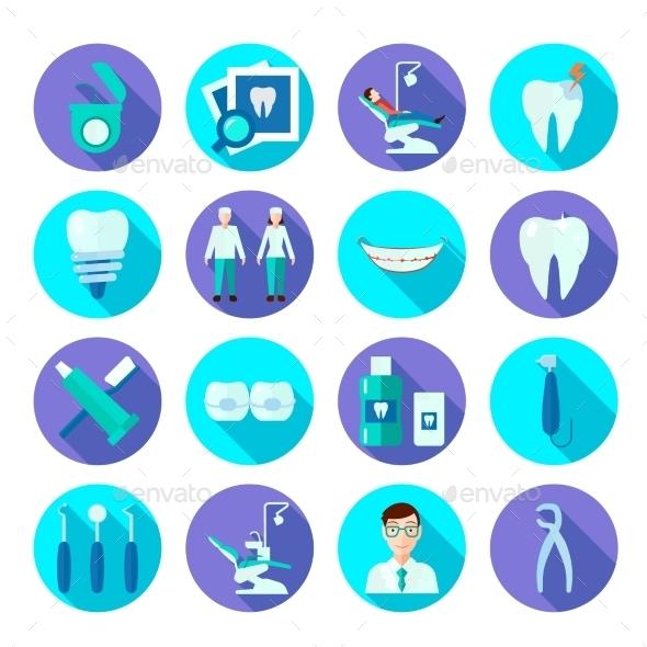 Dental Flat Icon Set - Miscellaneous Icons