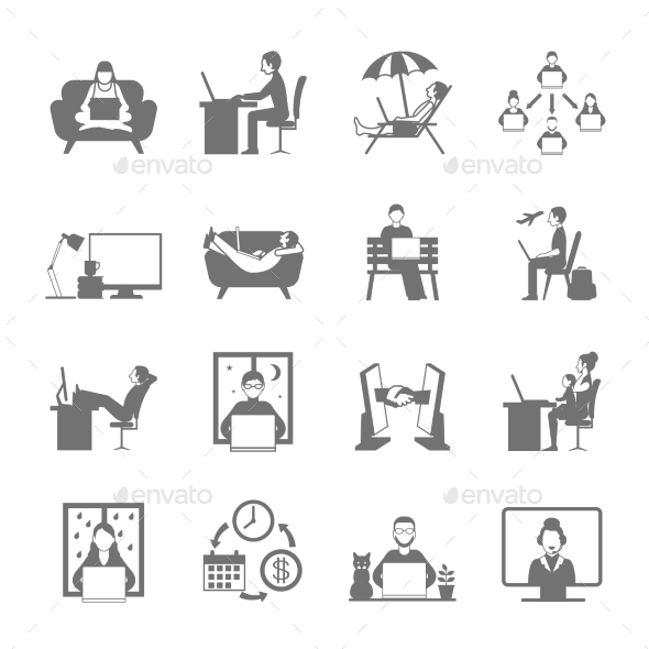 Freelance Flat Icon Set - Technology Icons
