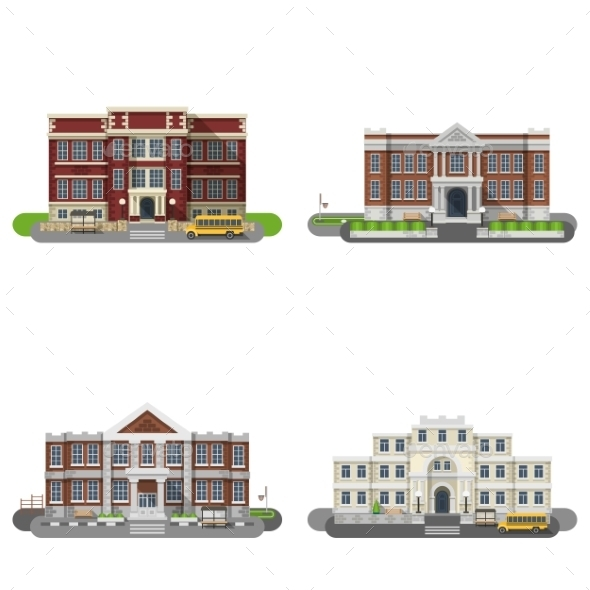 School Buildings Flat Set - Buildings Objects