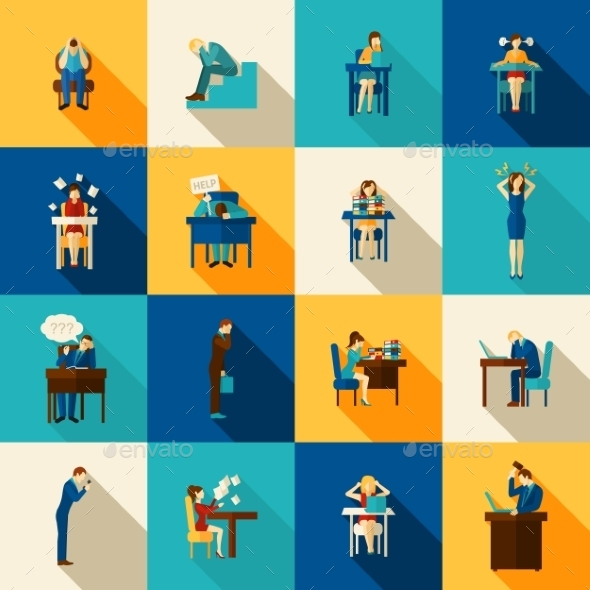 Frustration Icons Flat Set - People Characters