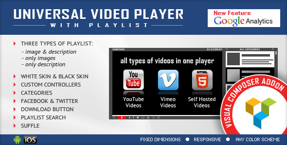 Visual Composer Addon - Universal Video Player - CodeCanyon Item for Sale