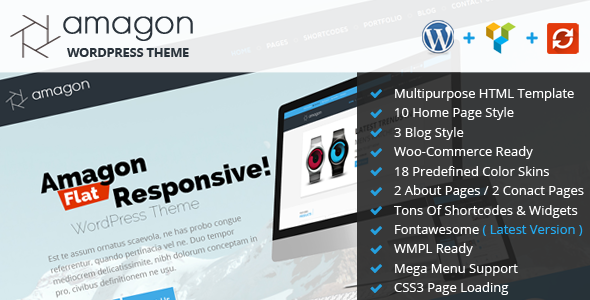 Amagon Bootstrap Flat Multipurpose WordPress Theme