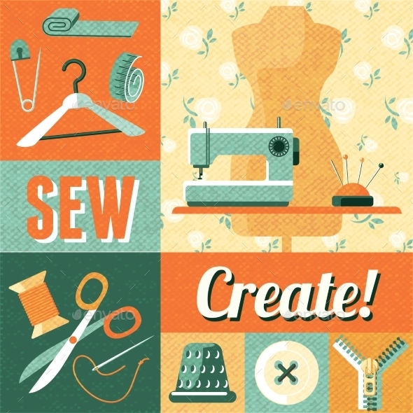 Sewing Vintage Decoration Collage Poster - Decorative Vectors