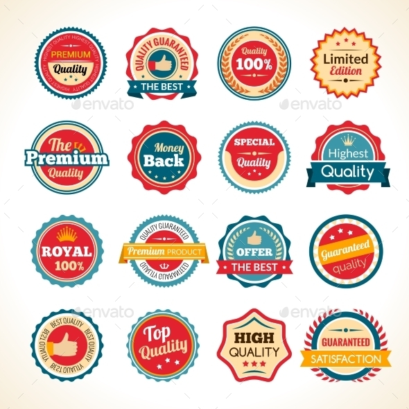 Vintage Premium Quality Color Badges - Miscellaneous Vectors
