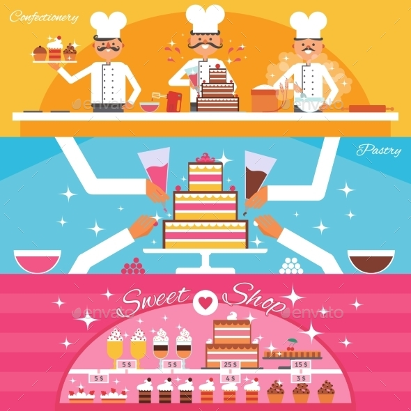Confectionery Banners Set - Food Objects