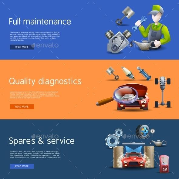 Car Repair Cartoon Banners Set - Technology Conceptual