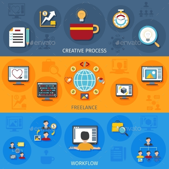 Freelance Banner Set - Conceptual Vectors