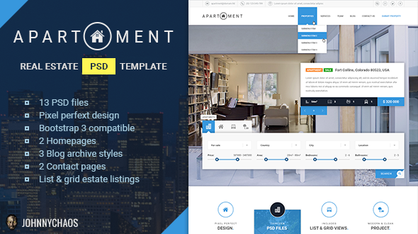 Apartment – Premium Real Estate PSD Template