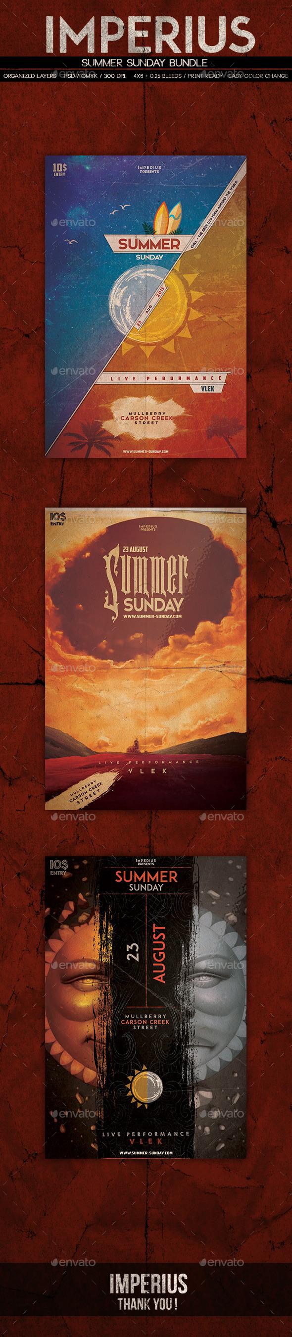 Summer Sunday Bundle - Flyers Print Templates