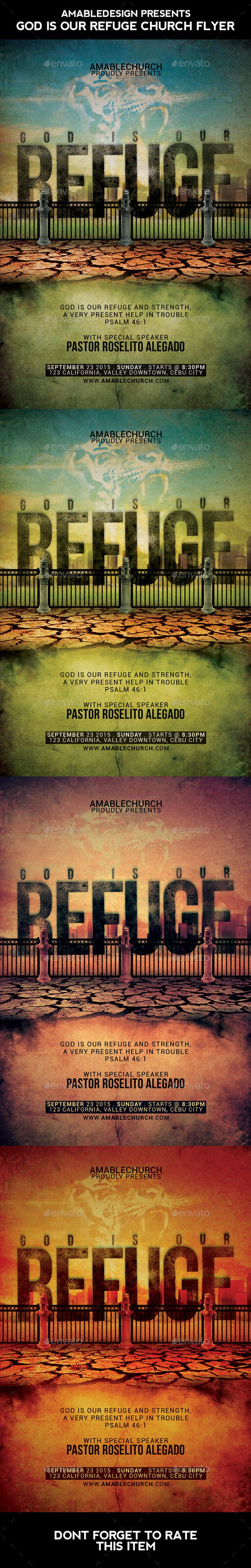 God is our Refuge Church Flyer - Church Flyers