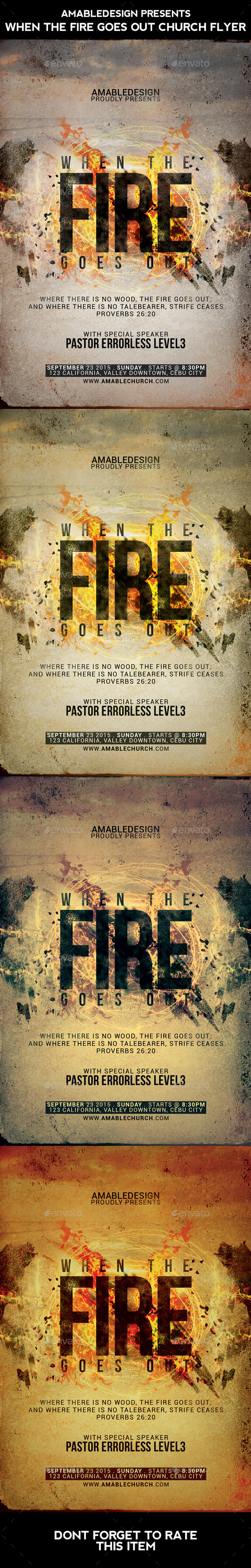 When the Fire Goes Out Church Flyer - Church Flyers