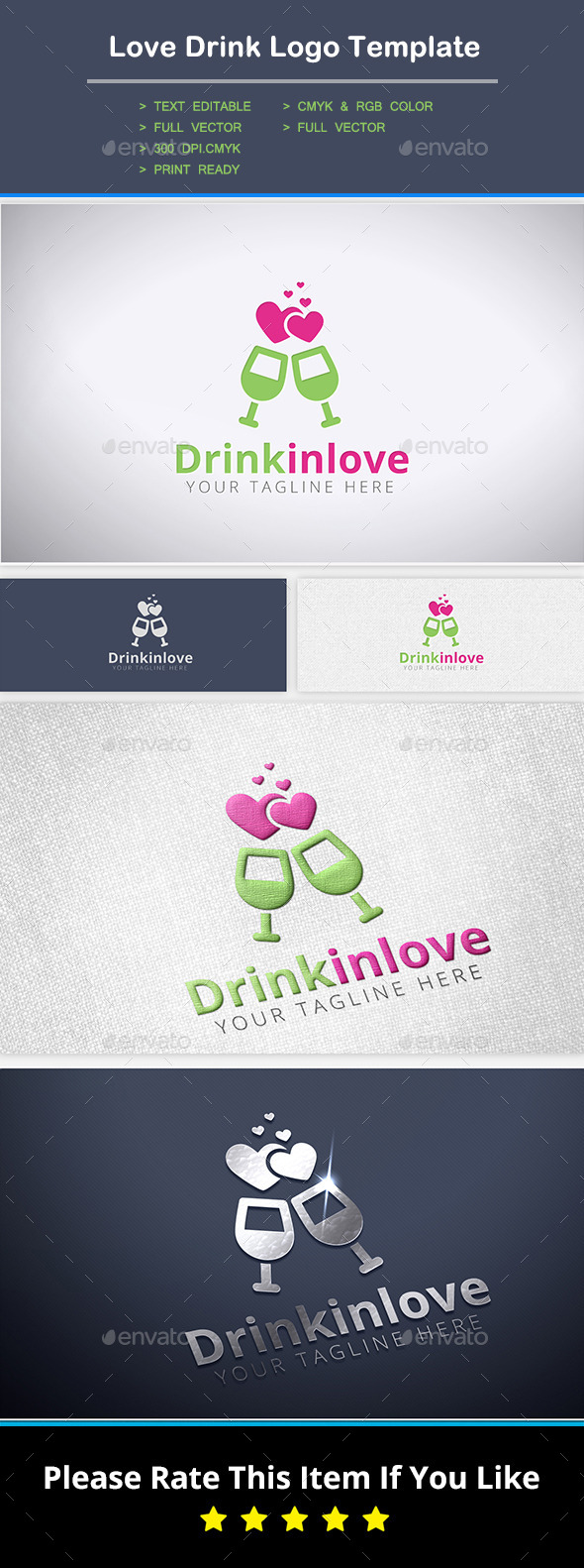 Love Drink Logo Template - Food Logo Templates