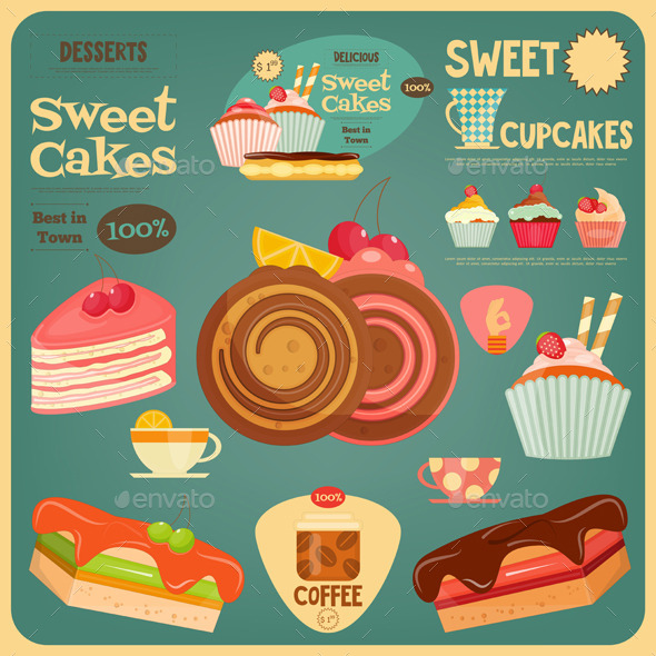 Sweet Cakes Card - Food Objects