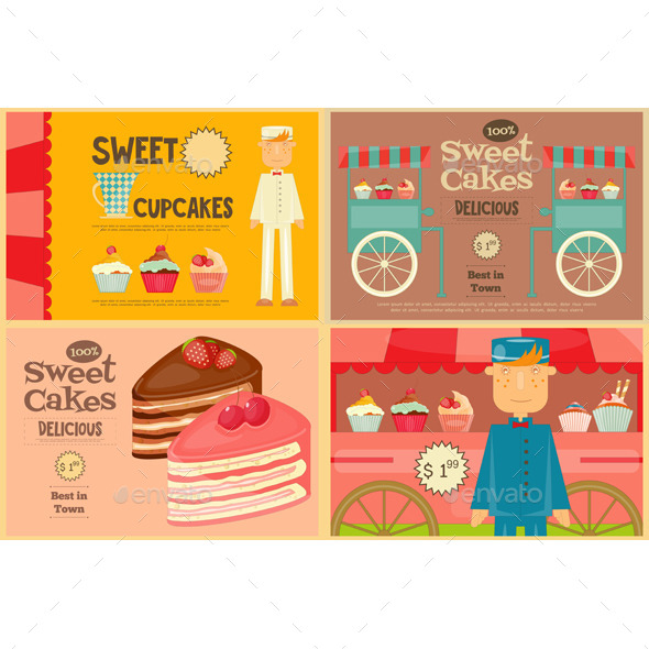 Set of Cakes Mini Posters - Food Objects