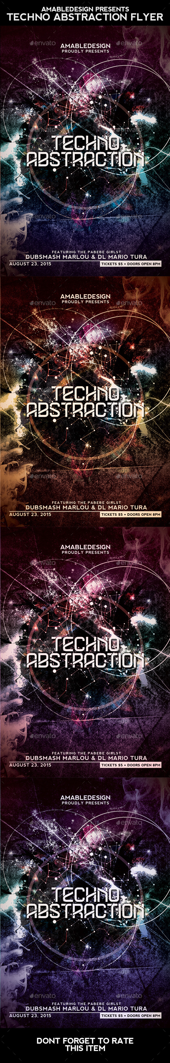 Techno Abstraction Flyer - Clubs & Parties Events