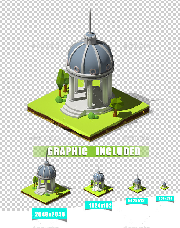 Isometric Pantheon - Architecture 3D Renders
