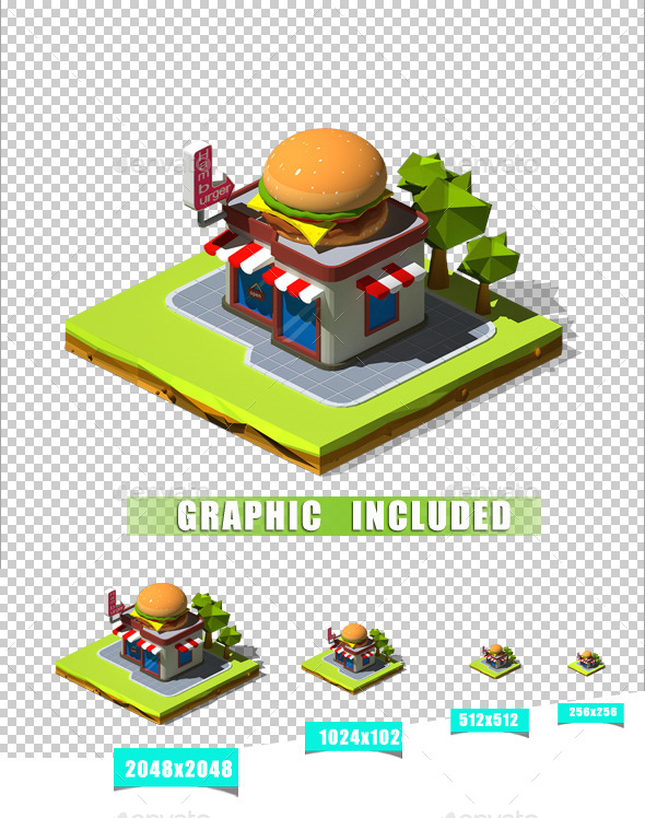 Isometric Hamburger - Objects 3D Renders