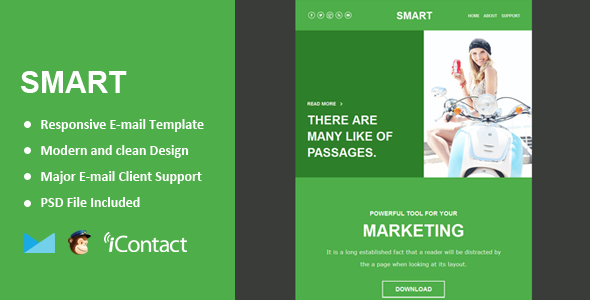 Smart Mail - Responsive E-mail Template + Themebuilder Access  - Email Templates Marketing