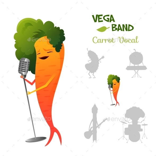 Carrot Character Singing a Song - People Characters