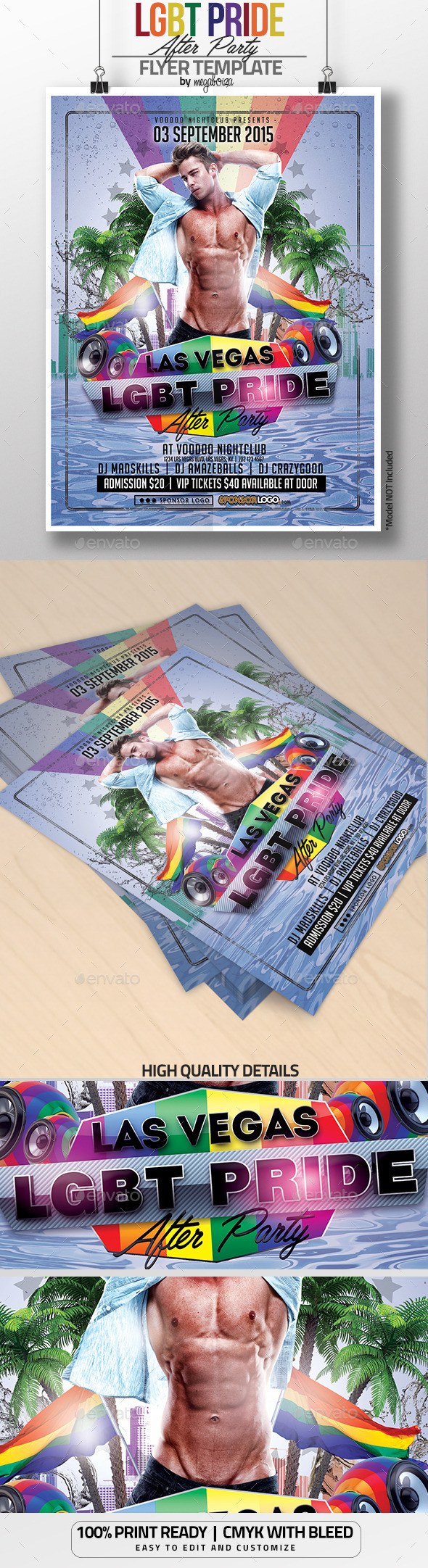 LGBT Pride After Party Flyer / Poster Template - Clubs & Parties Events