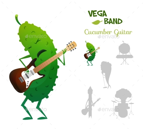 Cucumber Playing Electric Guitar - Miscellaneous Characters