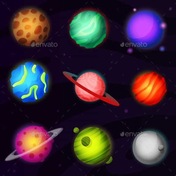 Set of 9 Colorful Planets - Travel Conceptual