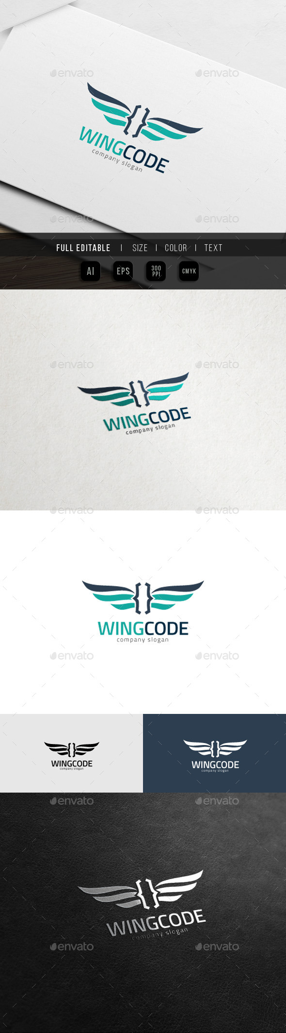 Wing Code - Flying Website Theme Logo - Symbols Logo Templates