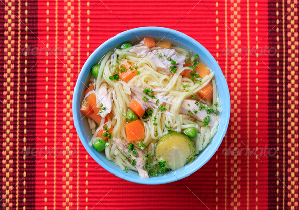 Chicken noodle soup - Stock Photo - Images