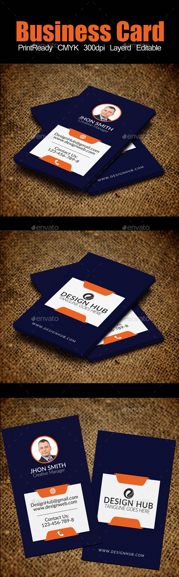 Vertical Business Card Template - Corporate Business Cards
