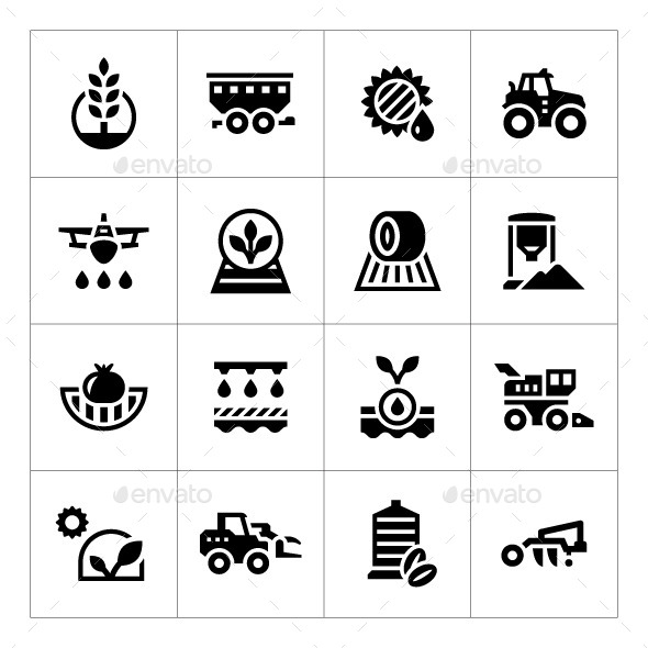Set Icons of Agriculture - Man-made objects Objects
