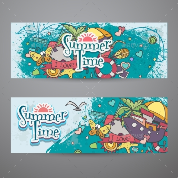 Colored Set of Horizontal Banners for Summer - Seasons Nature