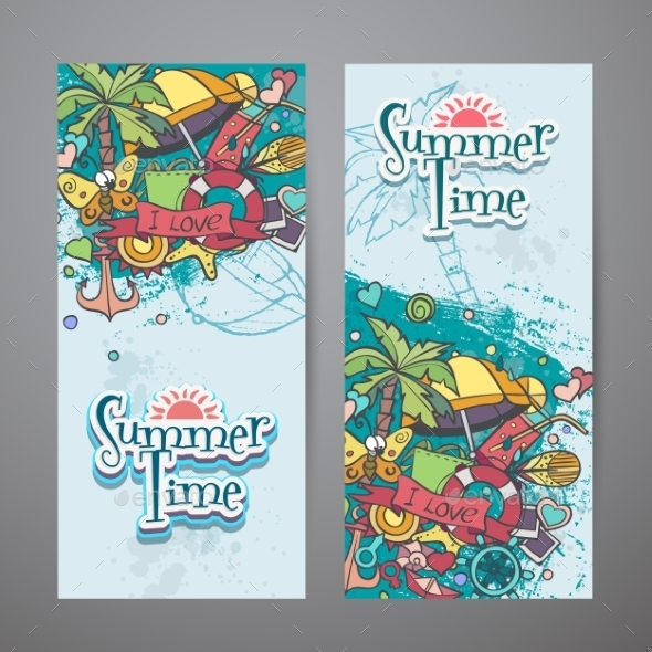 Colored Set Of Vertical Banners With Summer - Conceptual Vectors