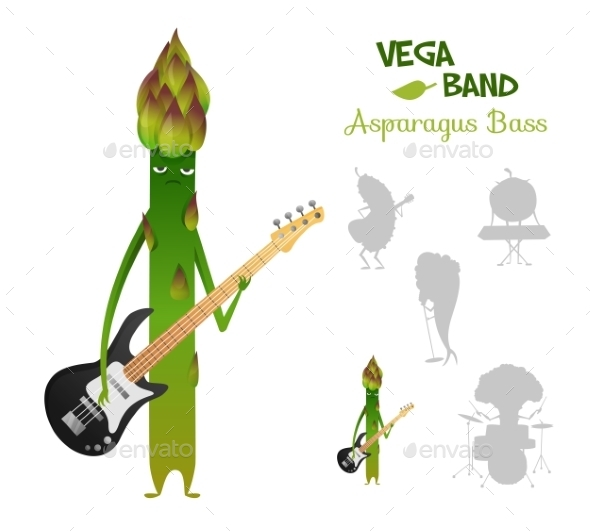 Asparagus Playing Bass with Band - Monsters Characters