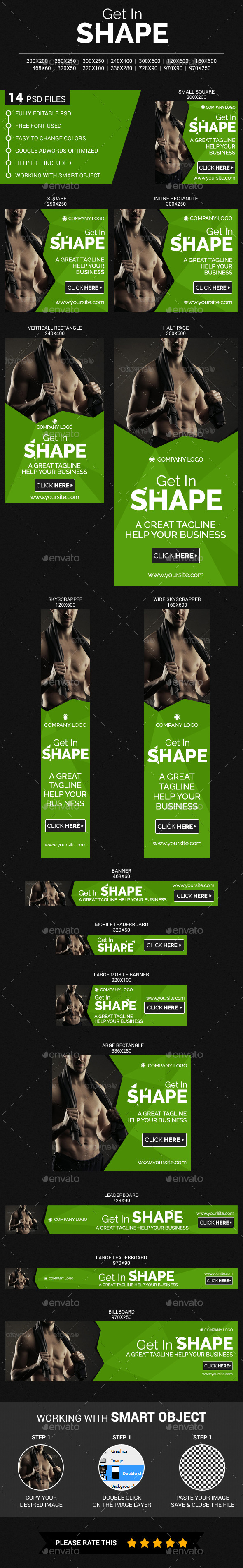 Health, Fitness & GYM - Banners & Ads Web Elements