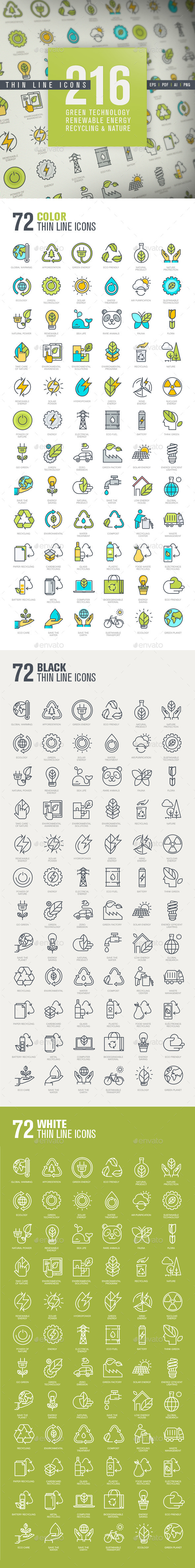 Set of Thin Line Icons for Green Technology - Icons