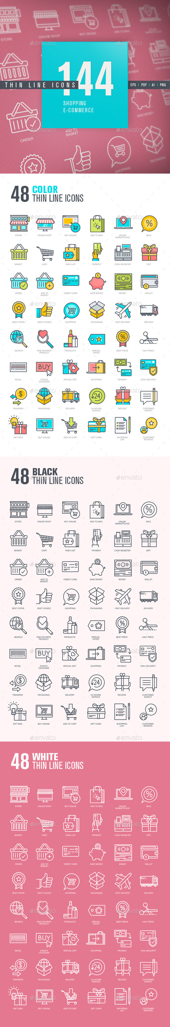 Set of Thin Line Icons for Shopping and E-commerce - Business Icons