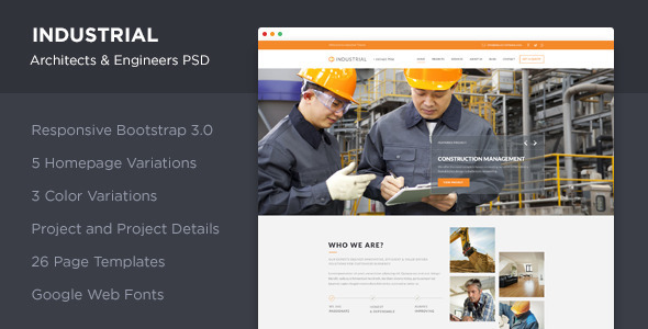Industrial - Architects & Engineers PSD - Corporate PSD Templates